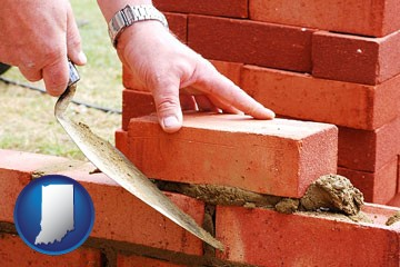 a bricklayer laying brick, building a brick wall - with Indiana icon