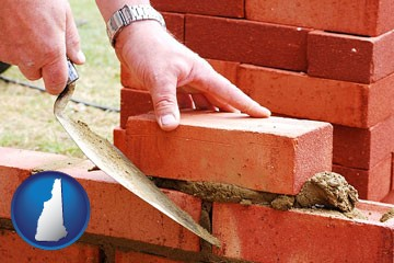 a bricklayer laying brick, building a brick wall - with New Hampshire icon